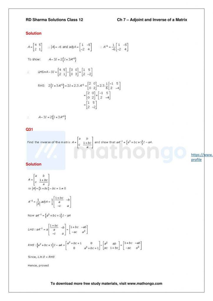 RD Sharma Class 12 Solutions Chapter 7 Adjoint and Inverse of a Matrix