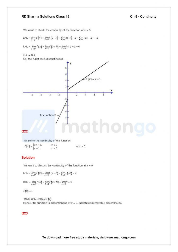 RD Sharma Class 12 Solutions Chapter 9 Continuity