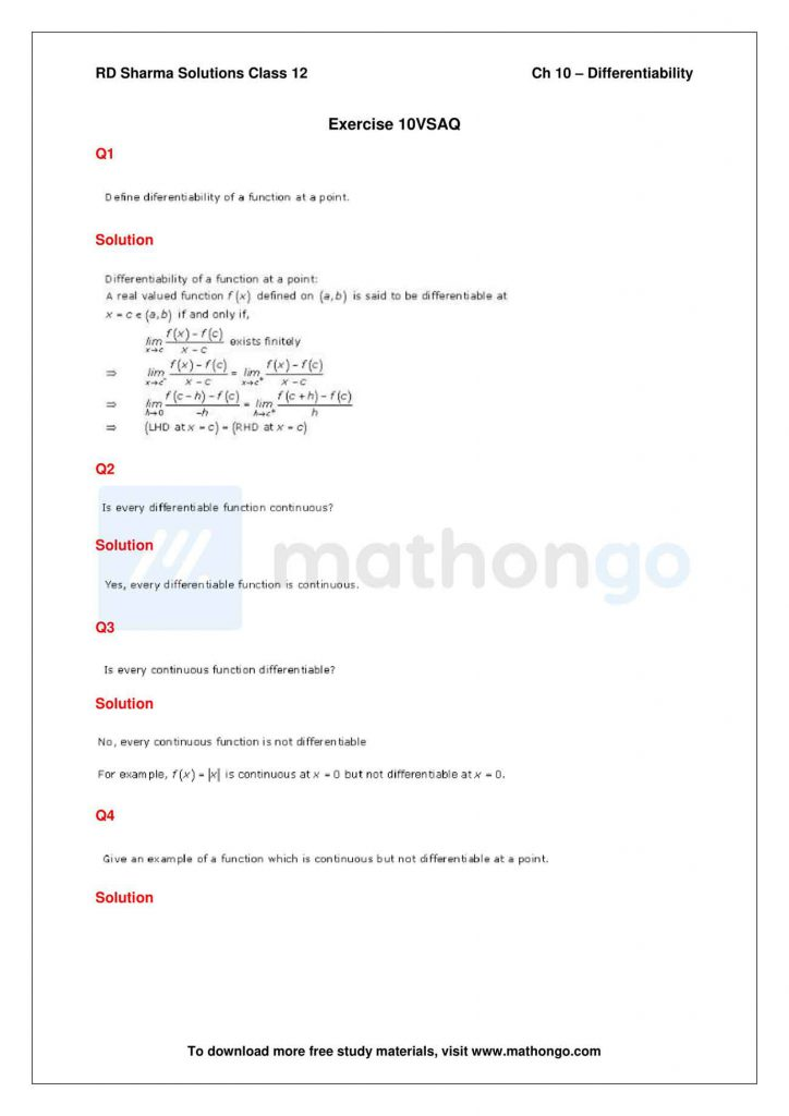 RD Sharma Class 12 Solutions Chapter 10 Differentiability