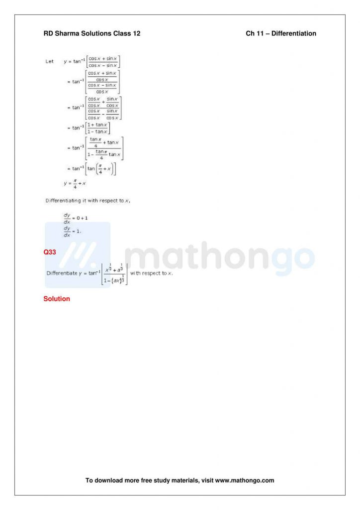 RD Sharma Class 12 Solutions Chapter 11 Differentiation