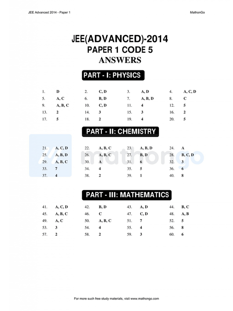 JEE Advanced 2014 Paper 1