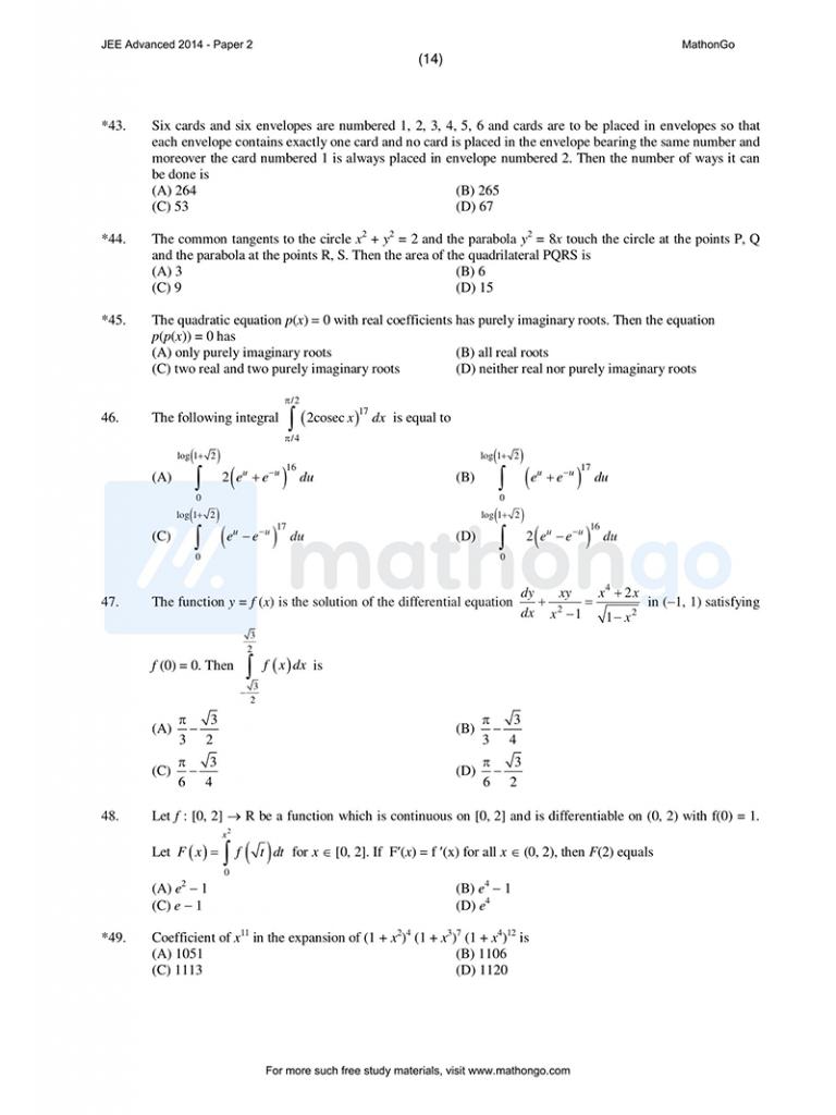 JEE Advanced 2014 Paper 2