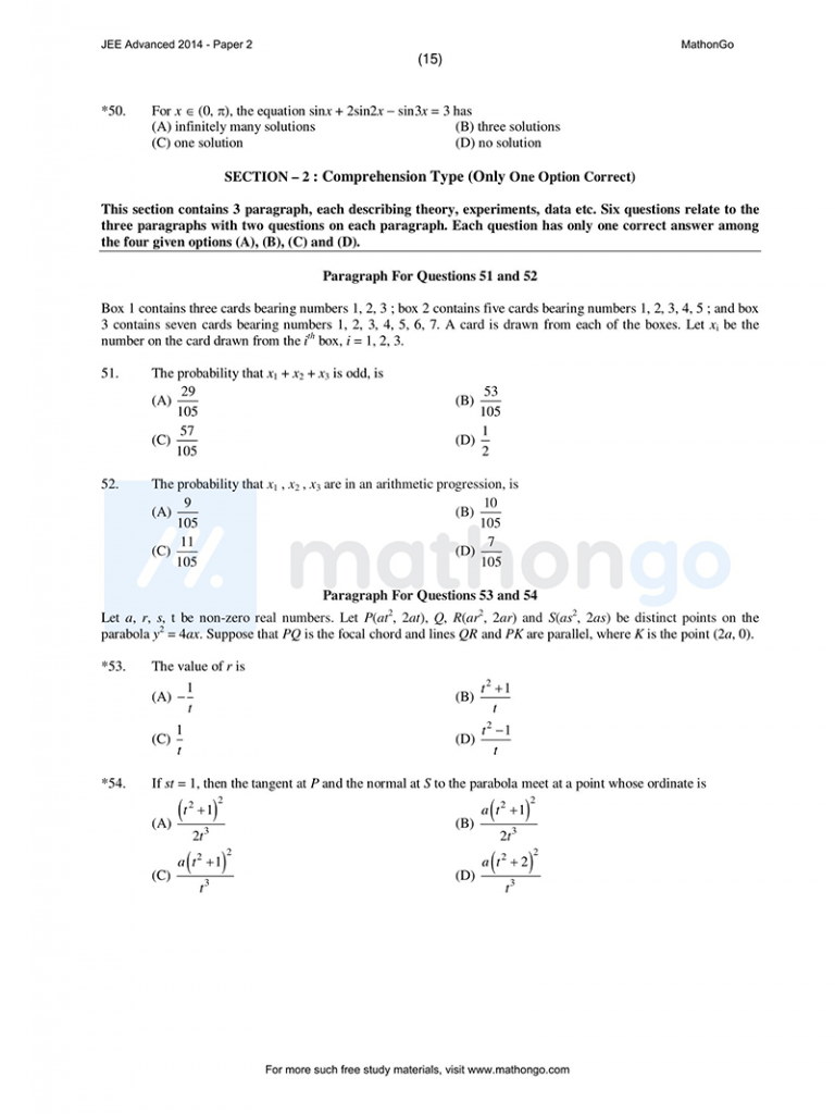 JEE Advanced 2014 Paper 2