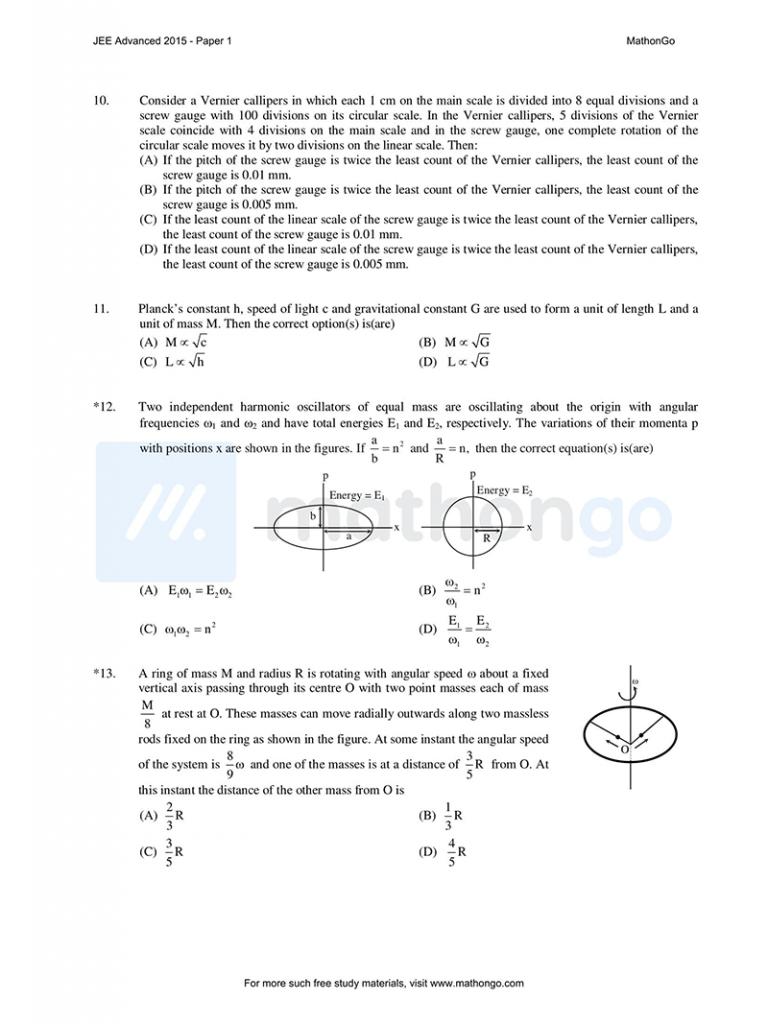JEE Advanced 2015 Paper 1
