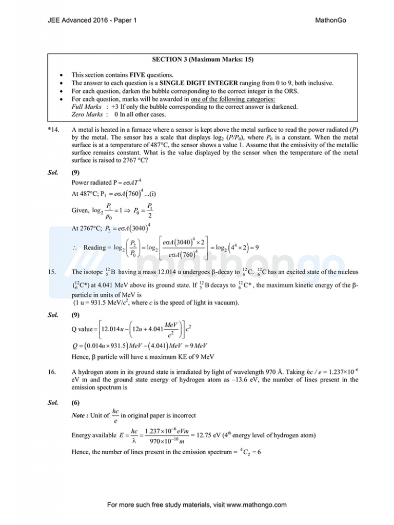 JEE Advanced 2016 Paper 1