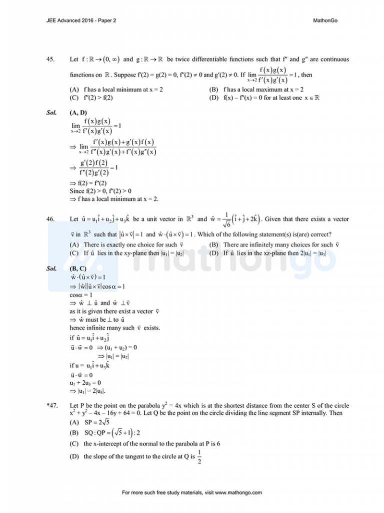 JEE Advanced 2016 Paper 2