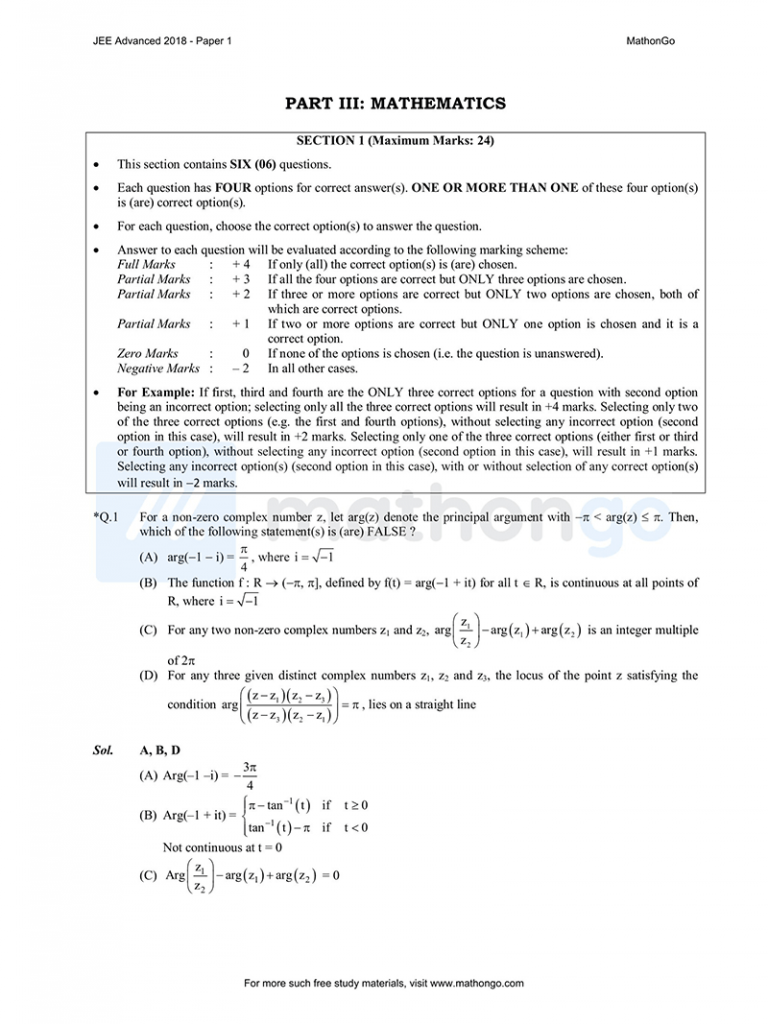 JEE Advanced 2018 Paper 1
