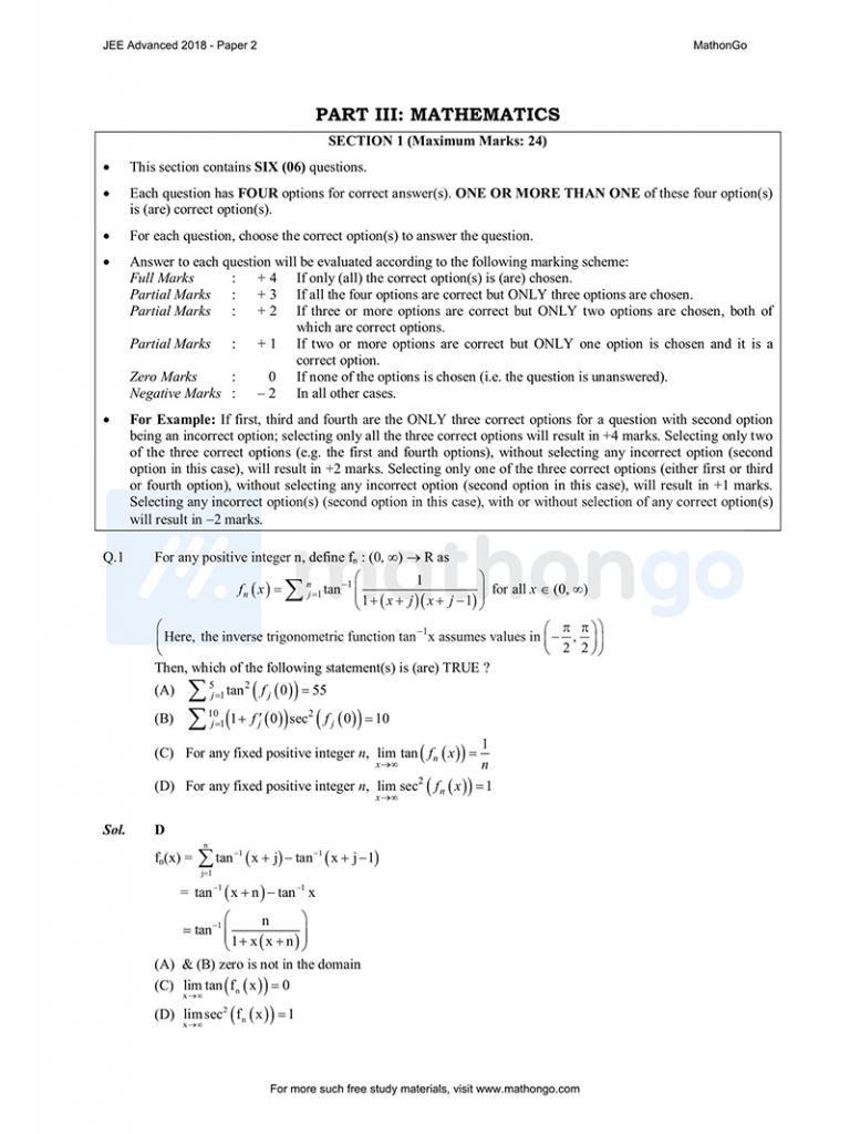 JEE Advanced 2018 Paper 2
