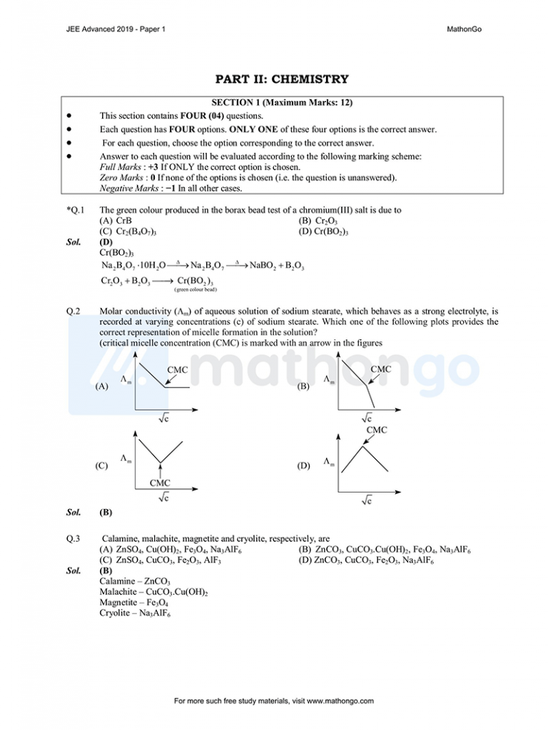 JEE Advanced 2019 Paper 1