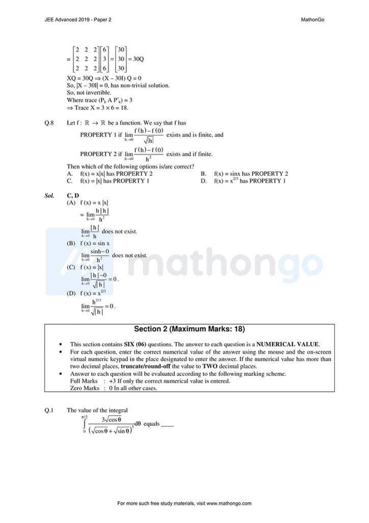 JEE Advanced 2019 Paper 2